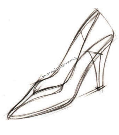 طراحی کفش زنانه از نمای سه رخ