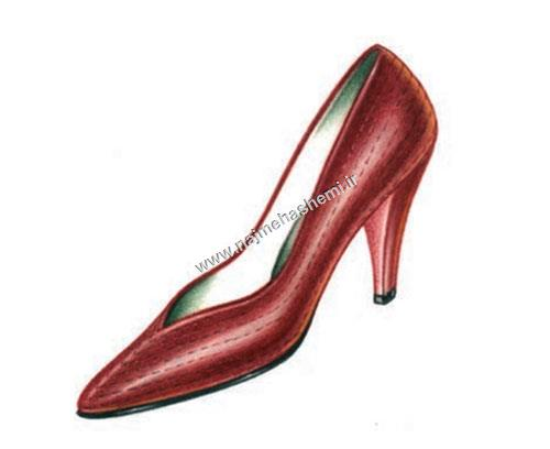 طرح کفش از نمای سه رخ