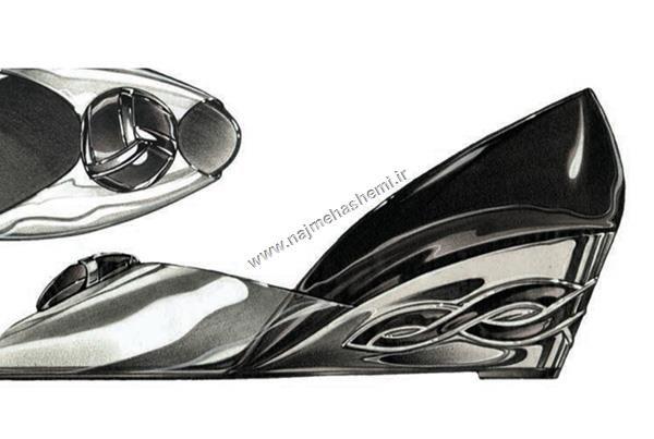 نمونه اجرای آکریلیک در تصویرسازی کفش
