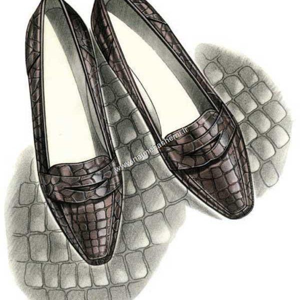 آموزش طراحی کفش و اجرای پوست تمساح