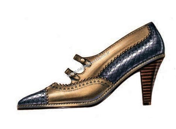 افزودن جزییات به طراحی کفش زنانه از نمای کنار