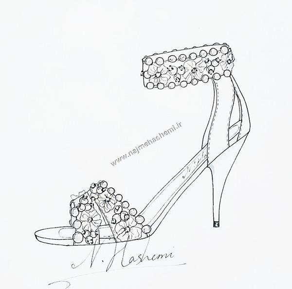 نمونه طراحی مروارید در آموزش طراحی کفش و تصویرسازی آن